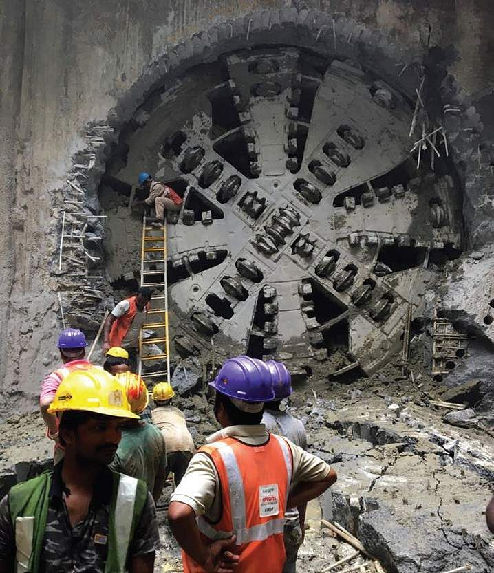 The breakthrough of first tunnel boring machine in the stretch between Government Estate and AG-DMS under Phase -I of Chennai Metro was achieved on Wednesday