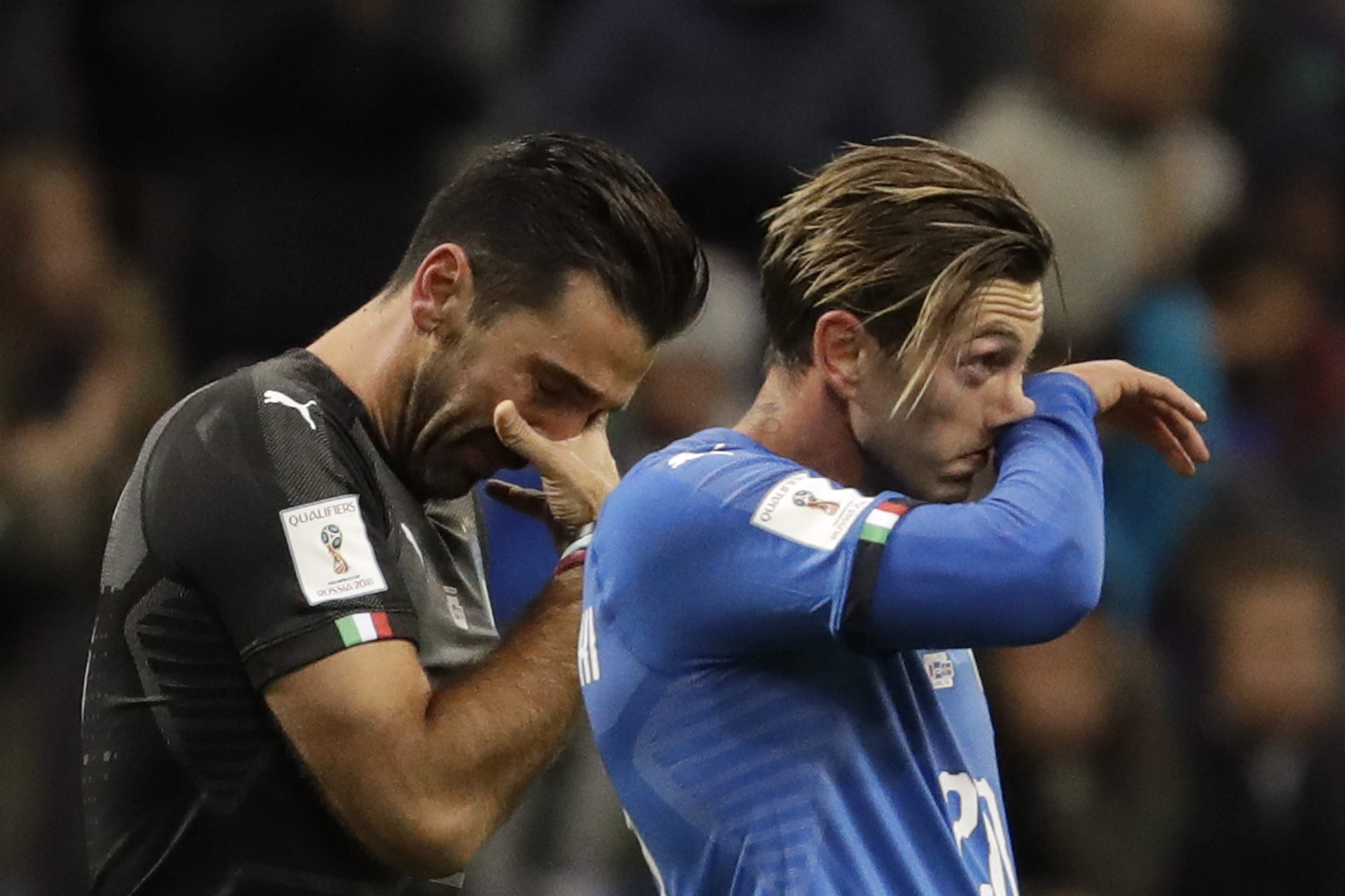 Italys Gianluigi Buffon And Manolo Gabbiadini After The Match Ap