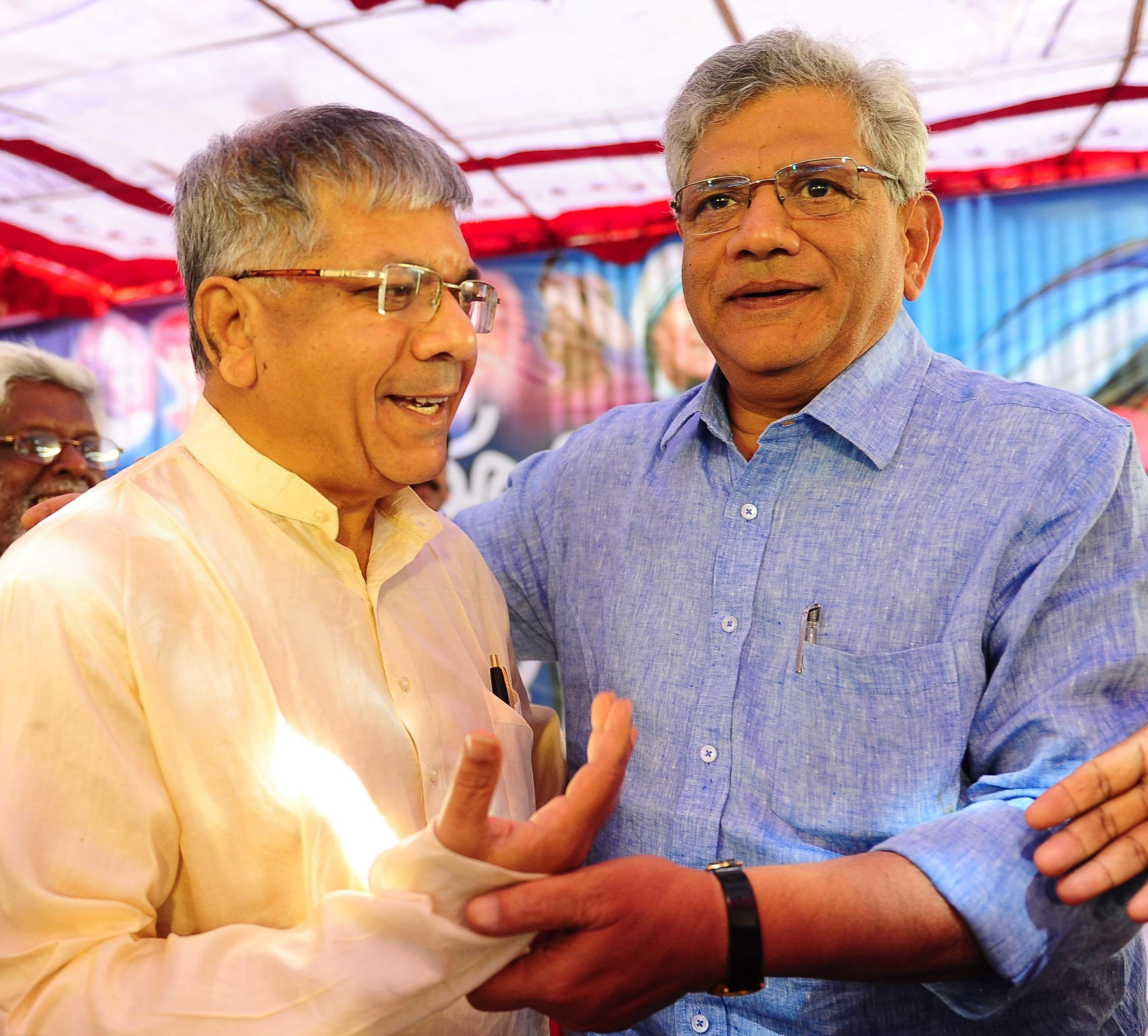Prakash Ambedkar grandson of BR Ambedkar the architect of the Indian Constitution is a Maharashtrian. Here he is seen at a Dalit Swabhimaan Rally in Bengaluru in November 2016 along with CPI General Secretary Sitaram Yechury- Express