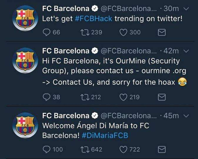 Barcelona Confirm Hacking After Angel Di Maria 'Announcement'