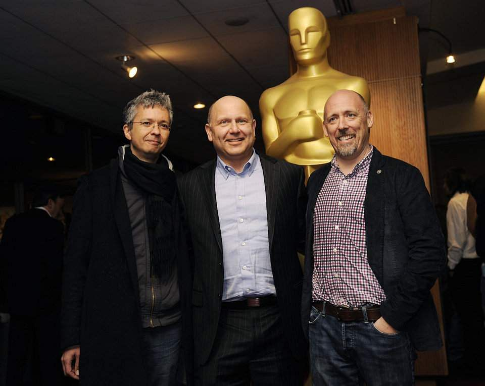 "Pierre Coffin, left, and Chris Renaud, right, co-directors of the Oscar-nominated feature film ""Despicable Me 2,"" pose with producer Chris Meledandri."
