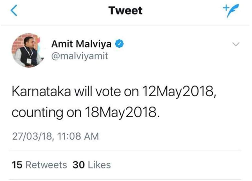 Malviya who got the counting date wrong deleted the tweet within minutes