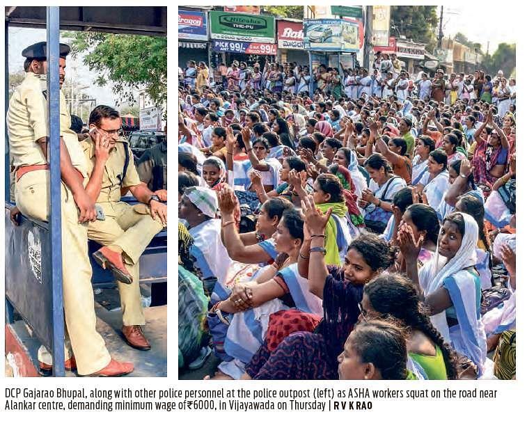 Vijayawada: Underpaid ASHA workers take to streets demanding