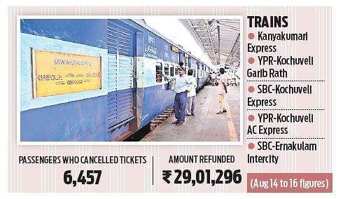 Kerala flood: 6,000 train passengers from Bengaluru cancel
