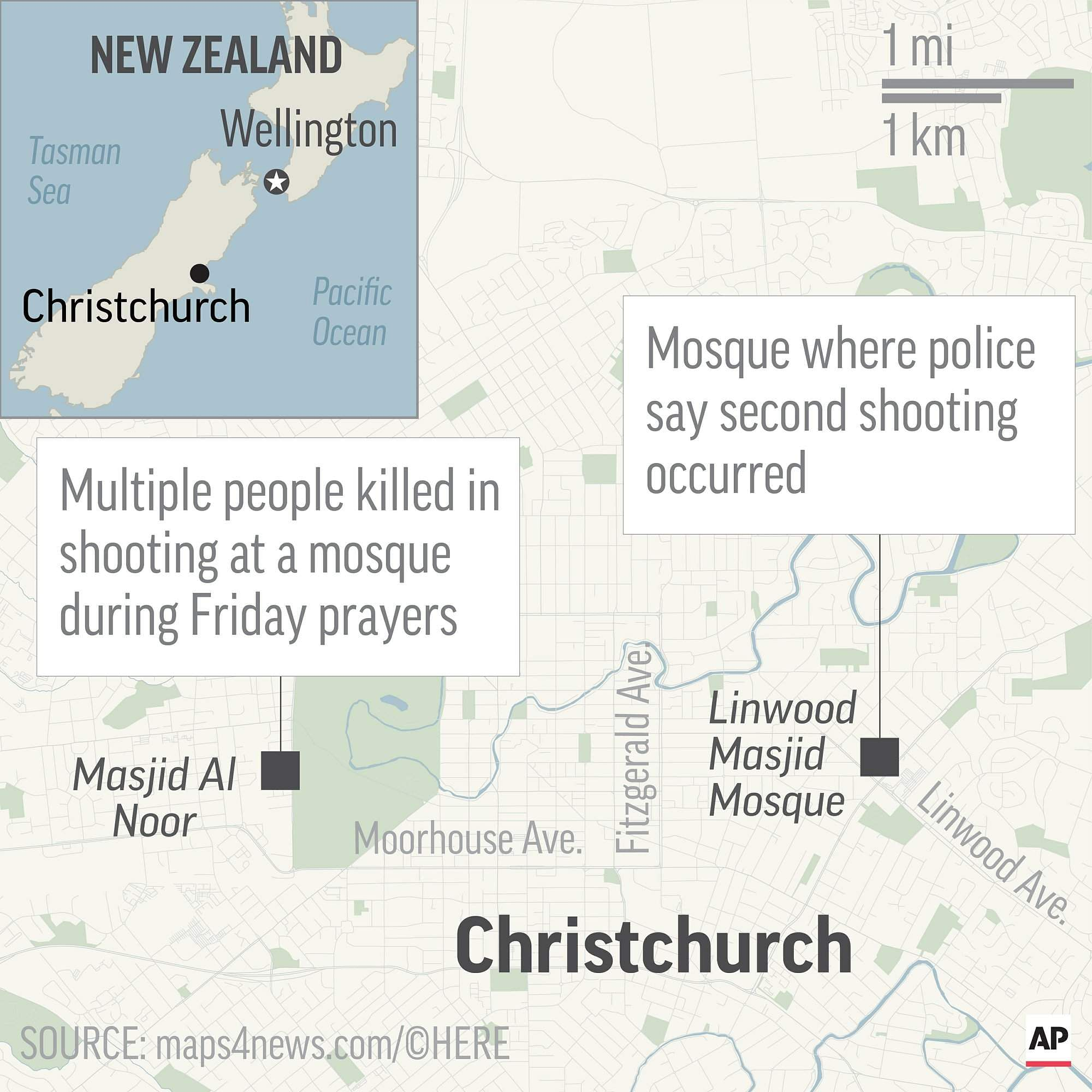 Map locates two mosques in Christchurch and Linwood New Zealand where mass shootings occurred