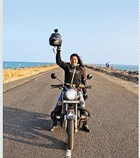 The trailblazer: 27-year-old woman goes on India 'darshan' with her bike