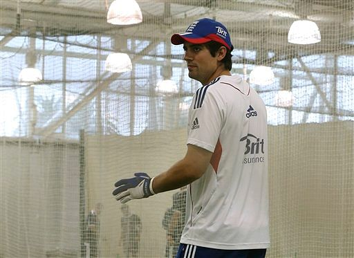 England cricket captain Alastair Cook takes a catching practice in the nets during the team