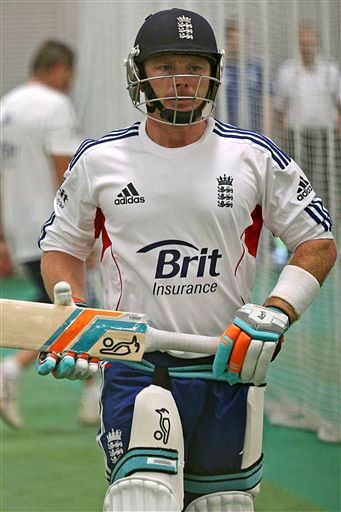 England cricket player Ian Bell prepares for batting practice during the team