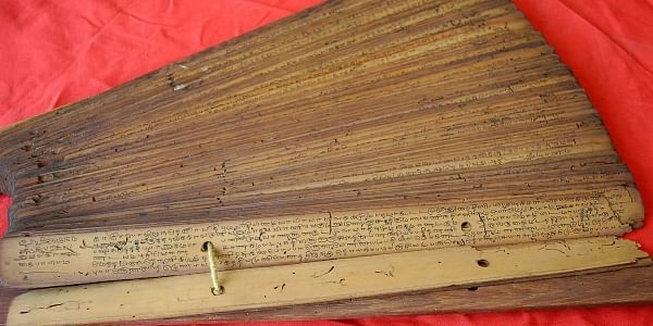 One of the many palm-leaf manuscripts kept in the U Ve Swaminatha Iyer Library at Kalakshetra complex in Besant Nagar. | EPS
