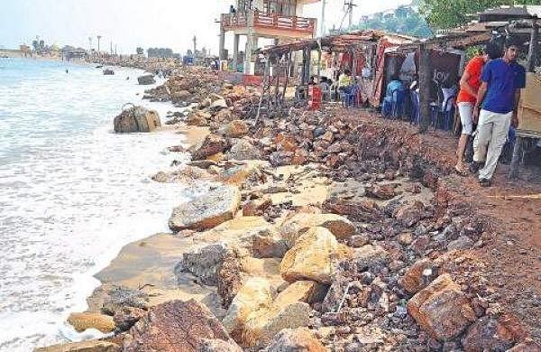 Erosion impact rushikonda beach records lowest footfalls for Soil erosion in hindi