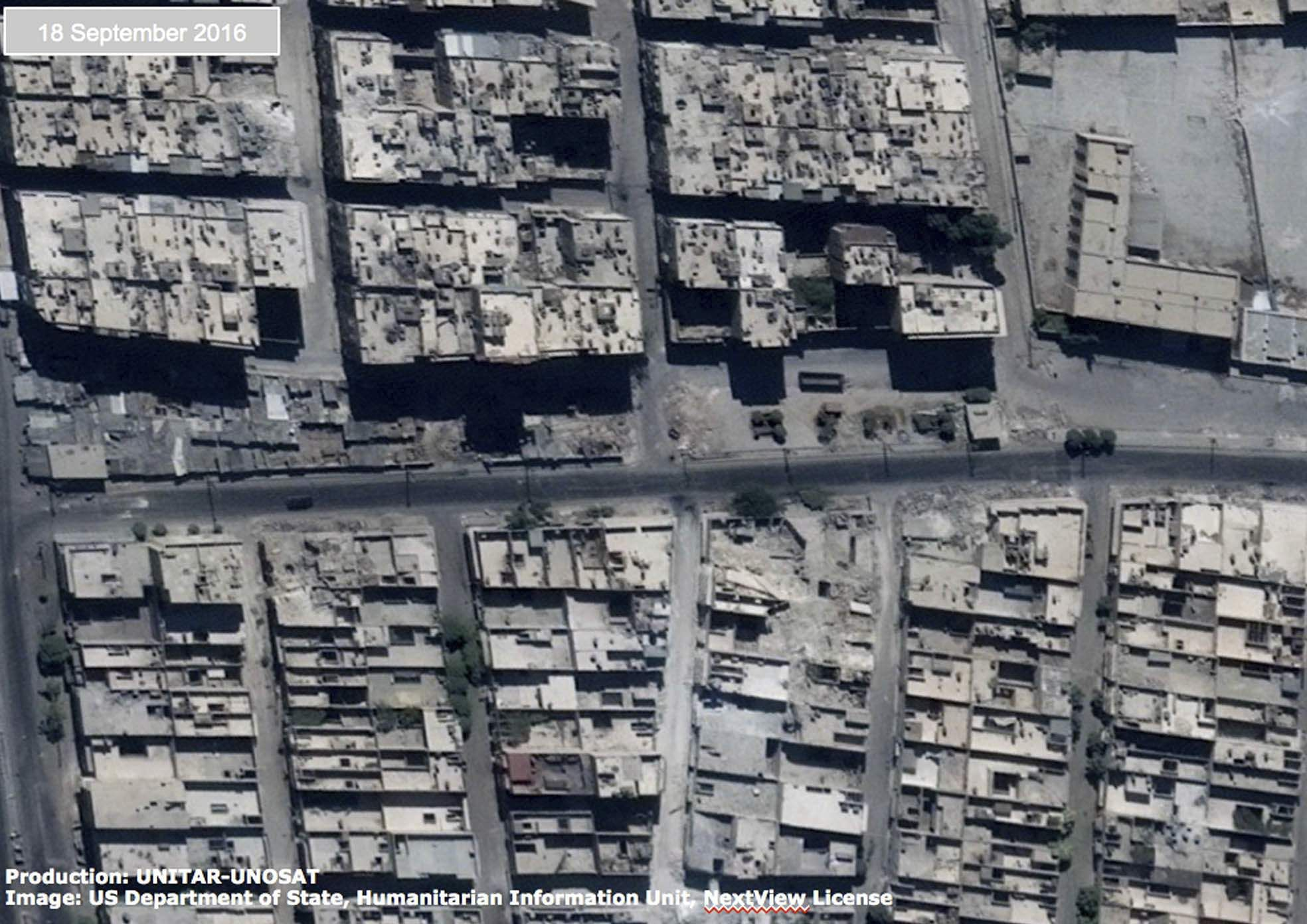 un releases satellite images of damage in syria 39 s aleppo the new indian express. Black Bedroom Furniture Sets. Home Design Ideas