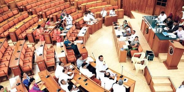 BBMP councillors at a special meeting to discuss water situation in Bengaluru on Friday. Hardly 30 per cent of the total members were present. ( Nagaraja Gadekal | EPS)
