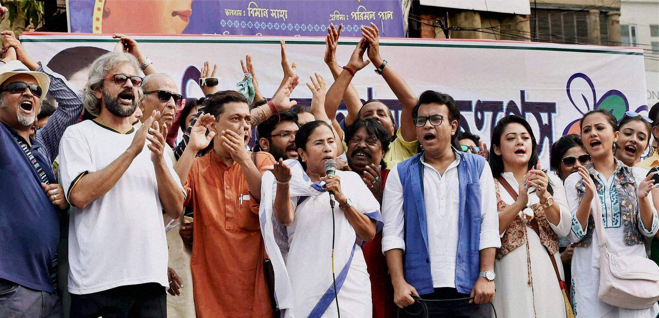 Will agitate against mamata banerjee for attacking our workers bjp the indian express - West Bengal Chief Minister Mamata Banerjee Addresses During A Rally Against Demonetization In Kolkata On Monday Pti
