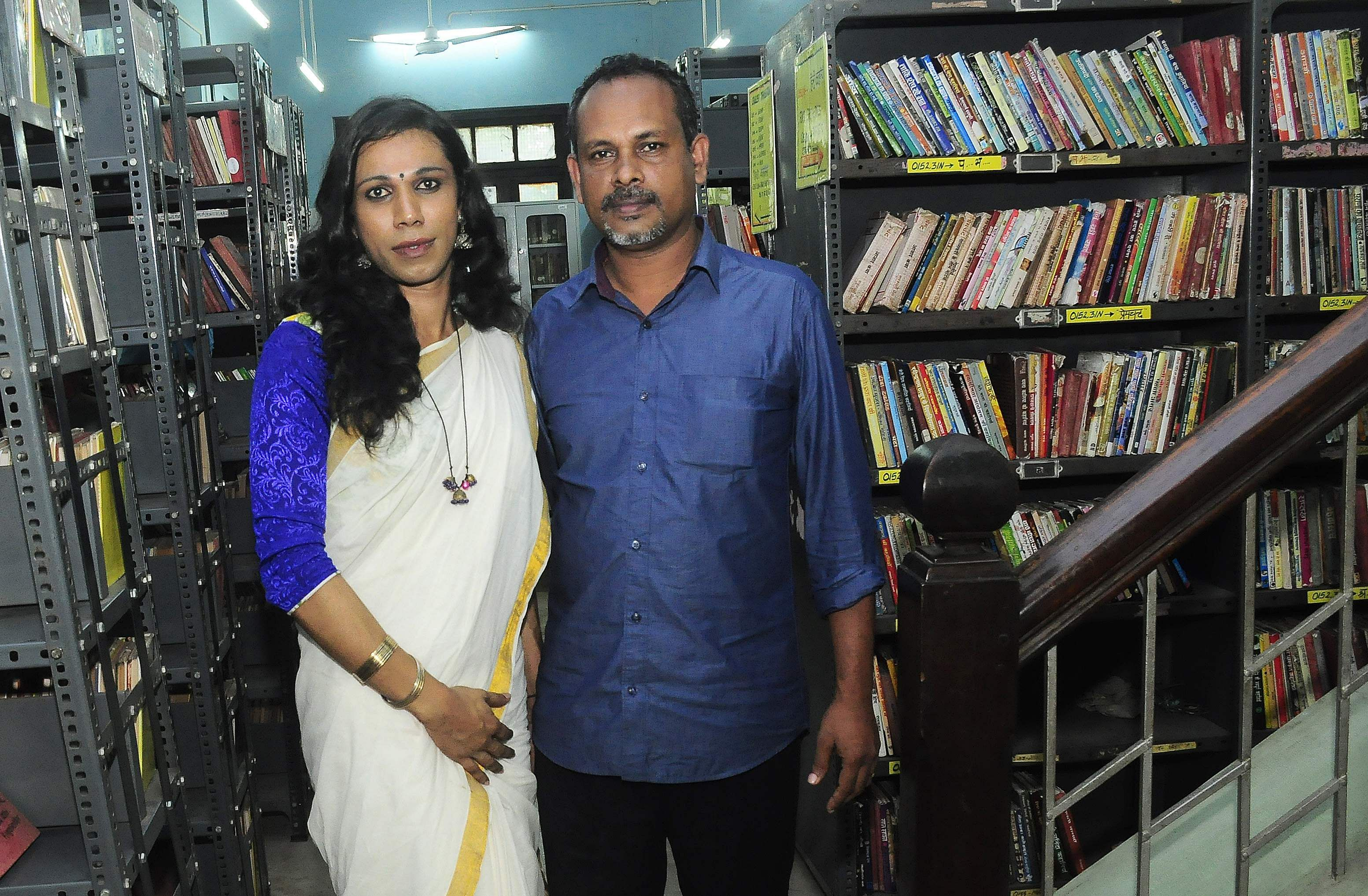K B Selvamony with transgender rights activist Sheethal Shyam during the shooting of the documentary at the State Central Library B P Deepu