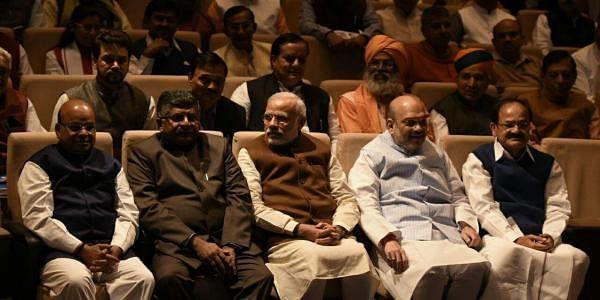 Prime minister Narendra Modi, BJP president Amit Shah and others during the BJP parliamentary party meeting at Parliament house in New Delhi on Tuesday   (Shekhar Yadav/EPS)