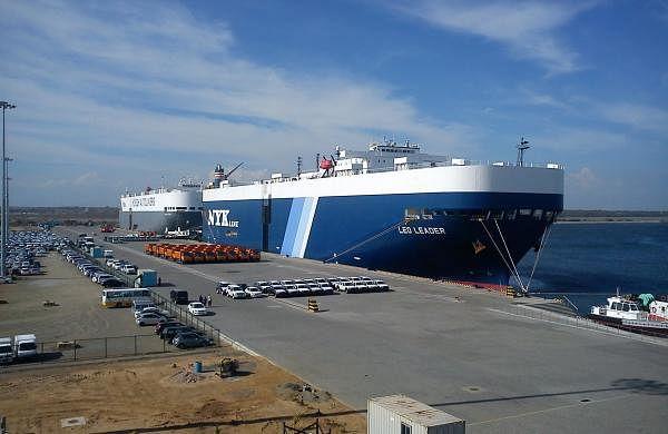 Cars for transhipment being unloaded at Hambantota harbor Sri Lanka