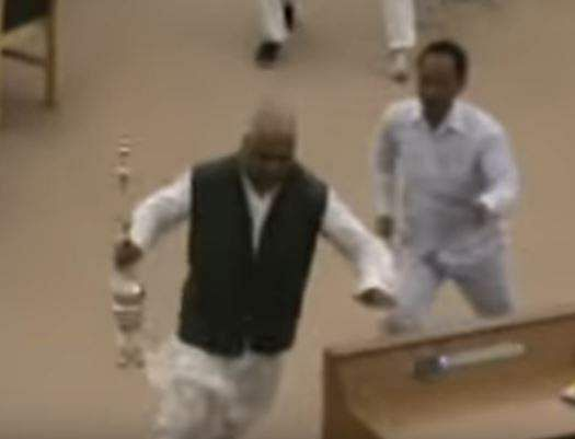 TMC MLA runs away with Speaker's mace to prove his point