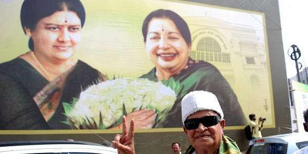 AIADMK supporter dressed as MGR at the general body meeting