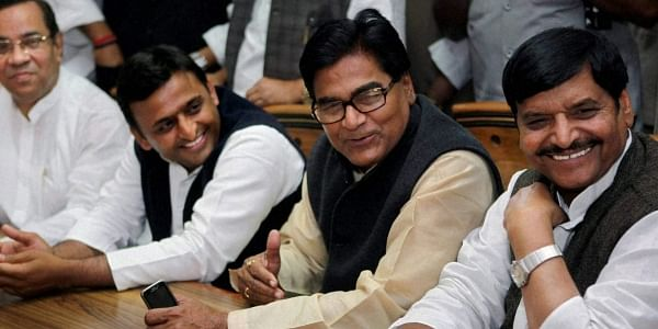 Uttar Pradesh Chief Minister Akhilesh Yadav with his uncle and Samajwadi Party leaders Ram Gopal Yadav and Shivpal Yadav