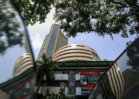 Sensex trading higher on global cues, stock buying
