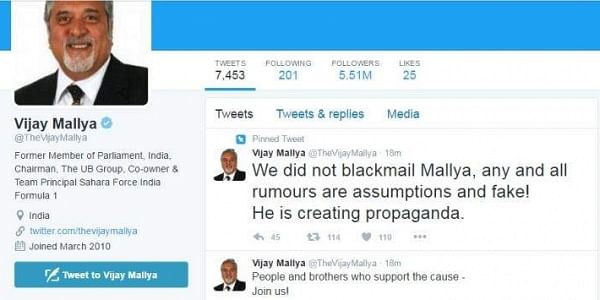 Mallya's Twitter account was hacked. (Twitter)