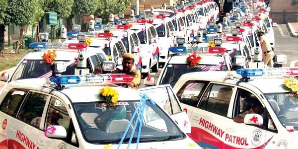Highway patrolling vehicles lined up at Vidhana Soudha in Bengaluru on Monday. The vehicles, which will have trained cops on board to tackle road robberies, were launched by CM Siddaramaiah | EXPRESS