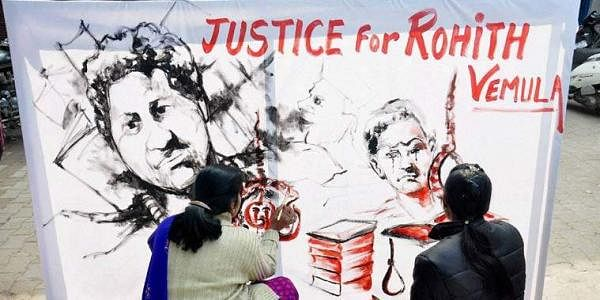 Students paint a placard seeking justice for Rohith Vemula (File Photo)