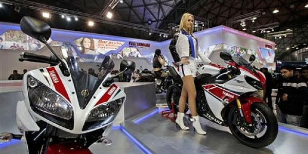 Yamaha motorcycle at an Auto Expo. (File photo | AP)