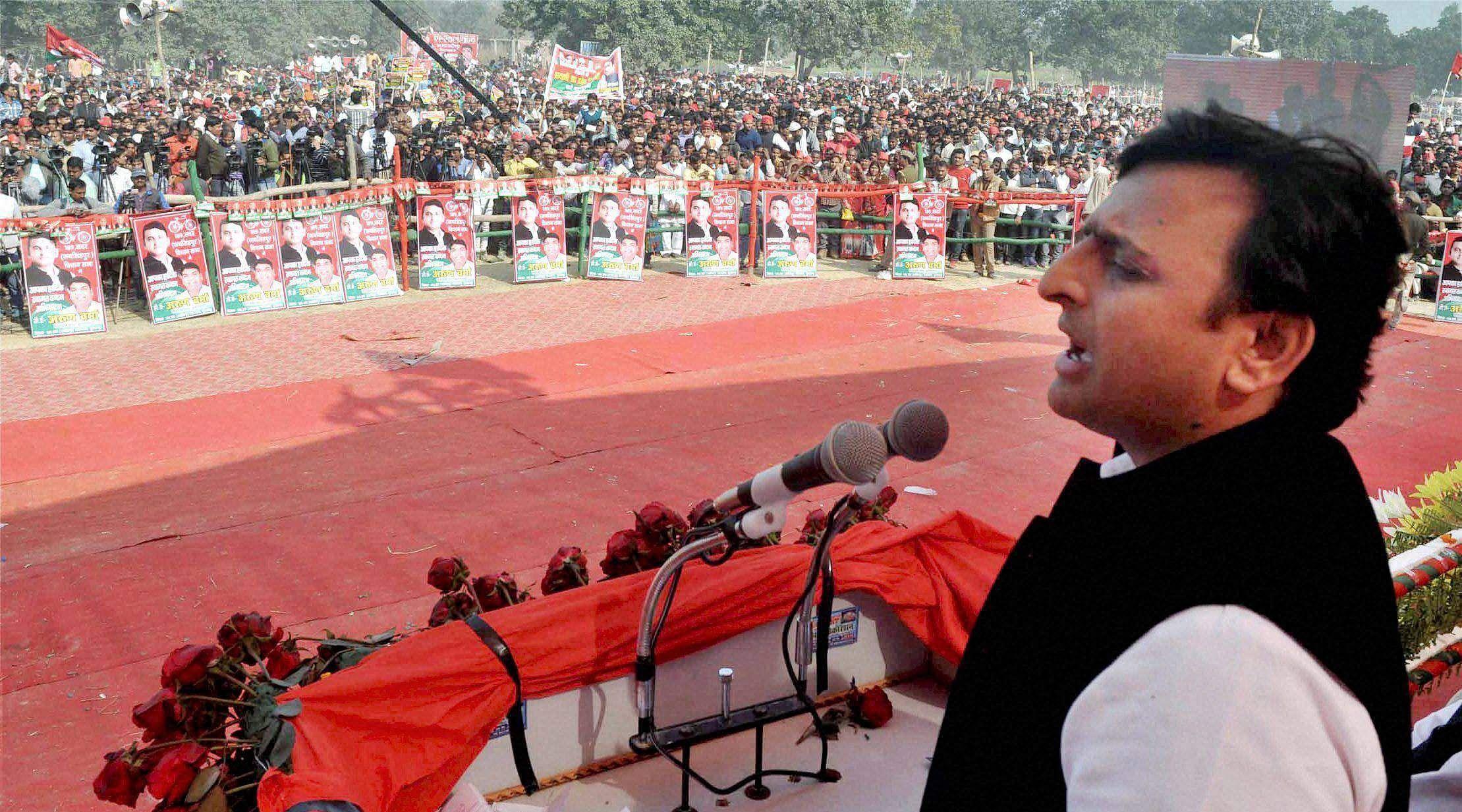 Uttar Pradesh Chief Minister and Samajwadi Party President Akhilesh Yadav at an election rally in Sultanpur on Tuesday   pti