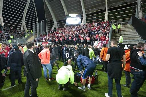 Barrier collapse injures Lille fans as they celebrate goal against Amiens