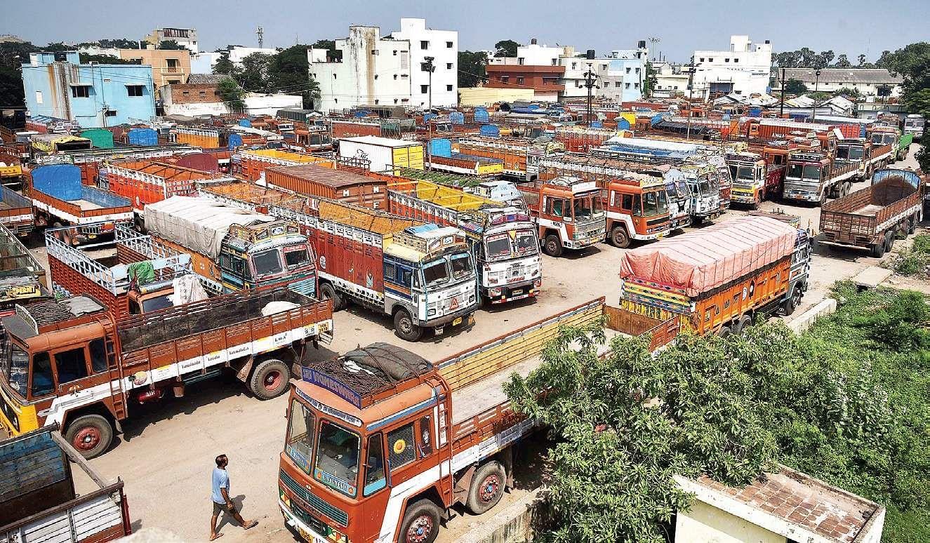 Lorries parked at the cmda truck terminal in madhavaram following nationwide strike that began on monday p jawahar
