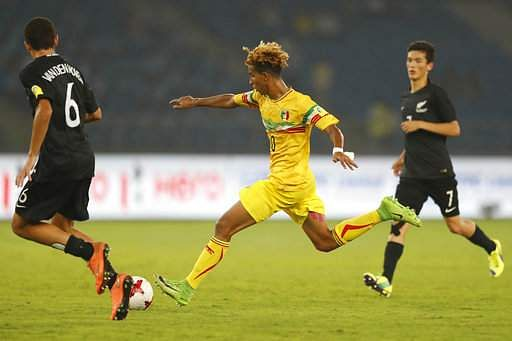 Mali's Salam Jiddou attempts a goal during their FIFA U-17 World Cup match against New Zealand in New Delhi, India, Thursday, Oct. 12, 2017.|AP