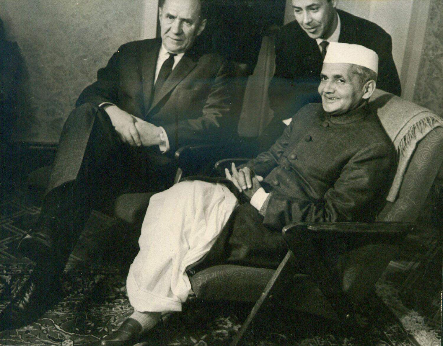 Lal Bahadur shastri and the then Pakistan President Ayub Khan met in Tashkent, Uzbekistan on January 11, 1966 for a summit which was organized by Soviet OM Alexei Kosygin. Later on the same night, Shastri died of multiple heart attacks. His wife Lalita alleged that he was poisoned. The butler who served him was arrested but was later freed due to lack of evidence. (Photo | PTI)
