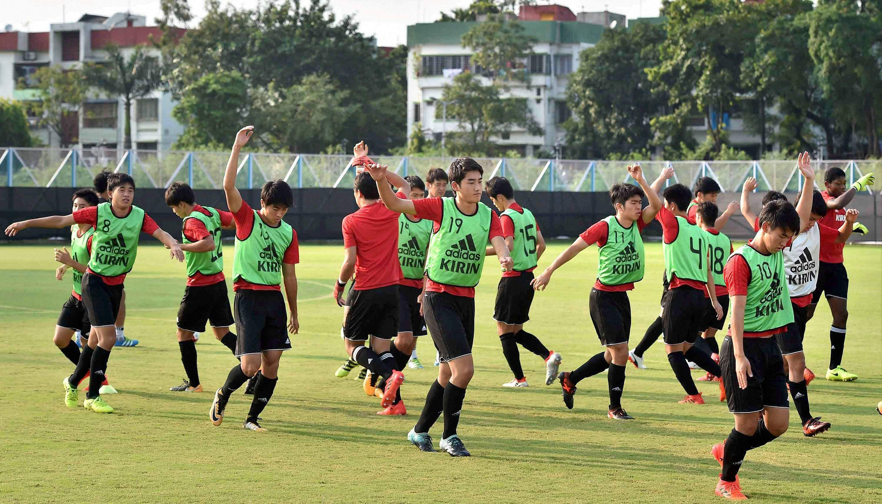 Japanese footballers at a practice session during FIFA U-17 World Cup India 2017 in Kolkata.|PTI