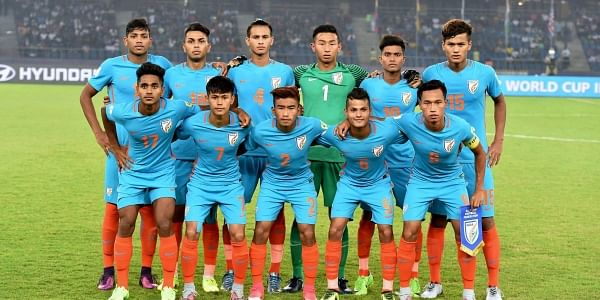 Indian players pose for a group photograph during the FIFA U-17 World Cup 2017.|PTI