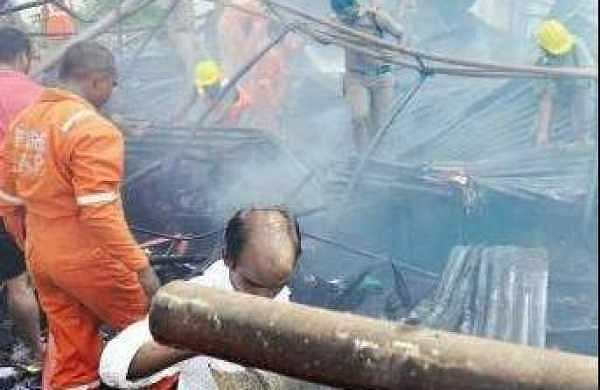 A flea market on M G Road in Vijaywada went up in flames at around 9.30 am.