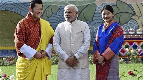 Modi gifts a football to Bhutan Prince