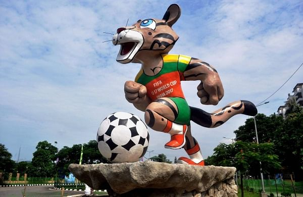 Kheleo: A clouded leopard named 'Kheleo' is the official mascot of the 2017 tournament. In Pic:  The statute of mascot at the main entrance of Indira Gandhi Athletic Stadium in Guwahati. (Photo | PTI)