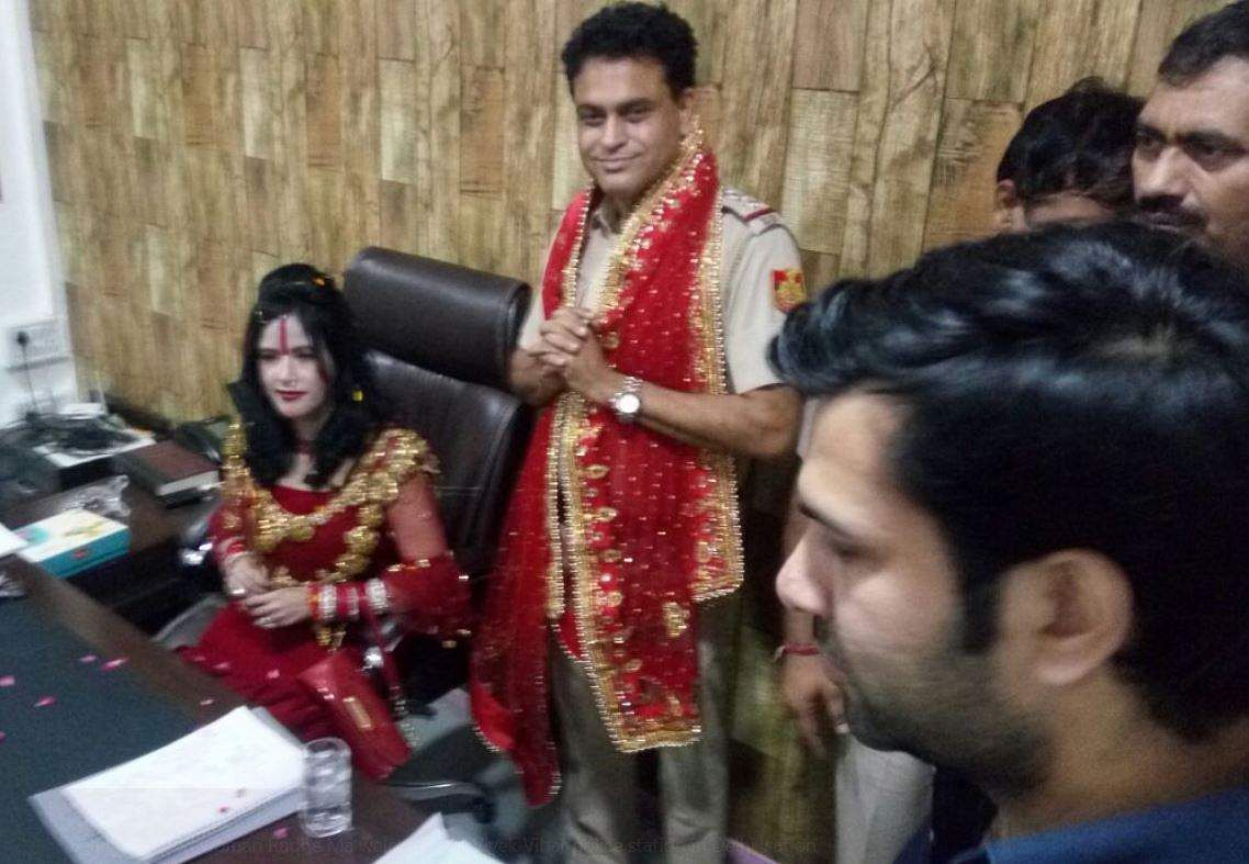 Delhi Policemen Seen Singing Songs With Radhe Maa at GTB Enclave