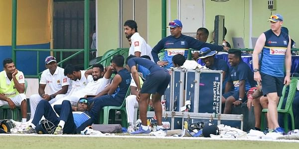 Srilankan cricketers during a warm up match between Srilanka and Board President XI at Jadavpur University campus.|PTI