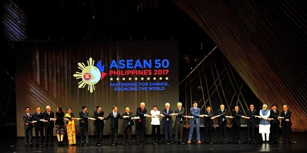 PM Modi and other leaders at the ASEAN summit opening ceremony. (Twitter | PIB)