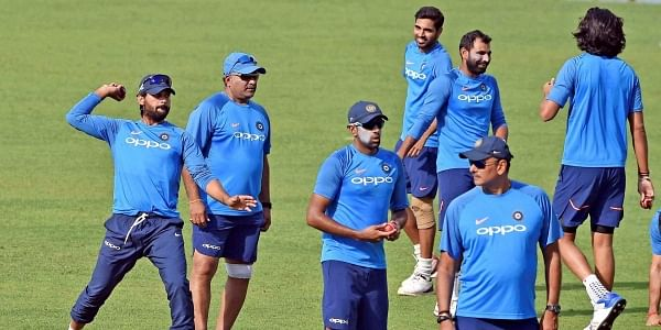 Indian cricketers during a training session at Eden Garden in Kolkata on Monday ahead of the 1st Test Match against Sri Lanka.|PTI