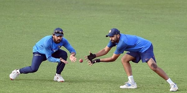 Murali Vijay and Rohit Sharma during a training session at Eden Garden in Kolkata on Monday ahead of the 1st Test Match against Sri Lanka.|PTI