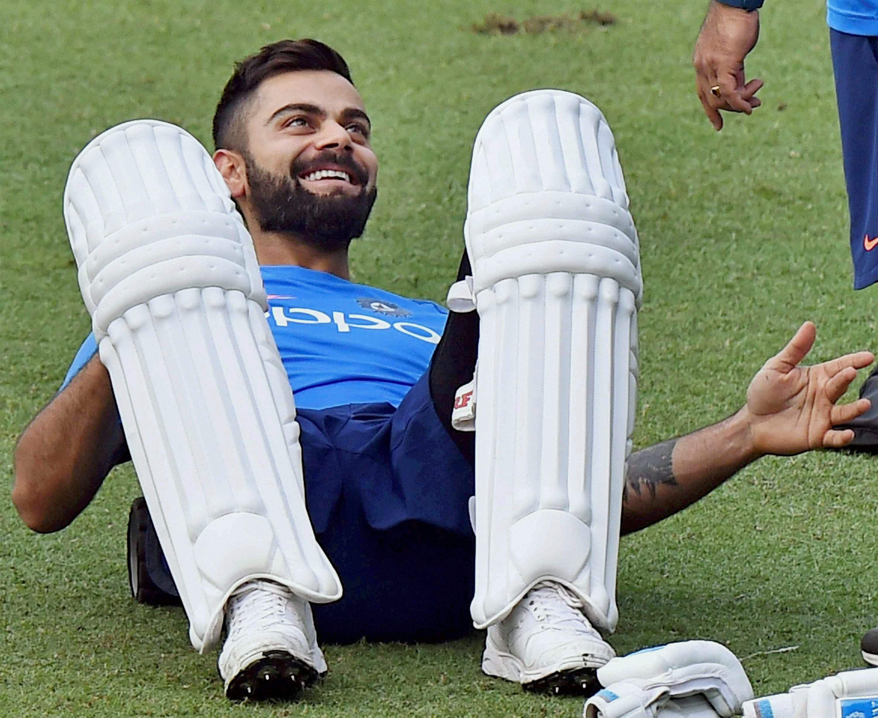 Indian cricket captain Virat Kohli during a training session at Eden Gardens in Kolkata on Tuesday ahead of the 1st Test Match against Sri Lanka.|PTI