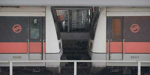 A general view shows two trains after they collided at a train station in Singapore.|AFP