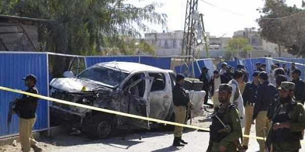 Police cordon off the area of a suicide bombing in Quetta, Pakistan.|AP