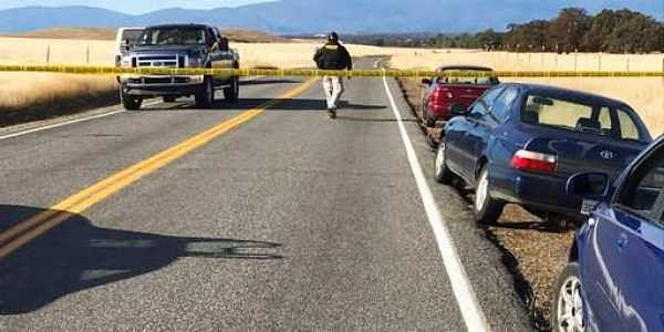 Crime tape blocks off Rancho Tehama Road leading into the Rancho Tehama subdivision south of Red Bluff, Calif.|AP
