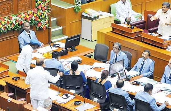 Jagadish Shettar and T B Jayachandra engage in a face-off at Suvarna Vidhana Soudha, in Belagavi on Friday | Express