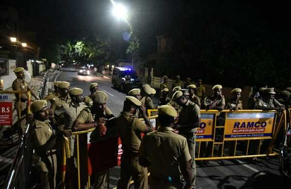 Tight security outside Jaya's residence at Pose Garden, Chennai | P Jawahar