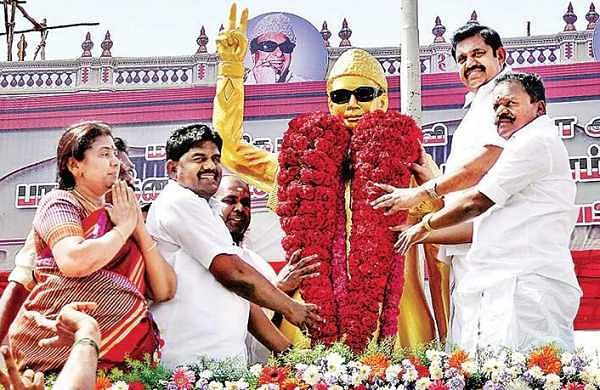 Chief Minister Edappadi K Palaniswami (second from right) at a function in Sivaganga on Saturday  | S BALA